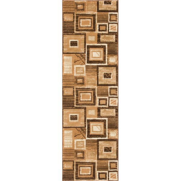 Atherton Modern Squares Brown Beige Area Rug by Winston Porter