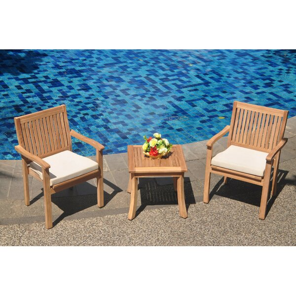 Edgao 3 Piece Teak Bistro Set by Rosecliff Heights