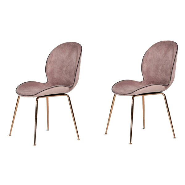Wentz Velvet Metal Side Chair in Pink (Set of 2) by Everly Quinn Everly Quinn