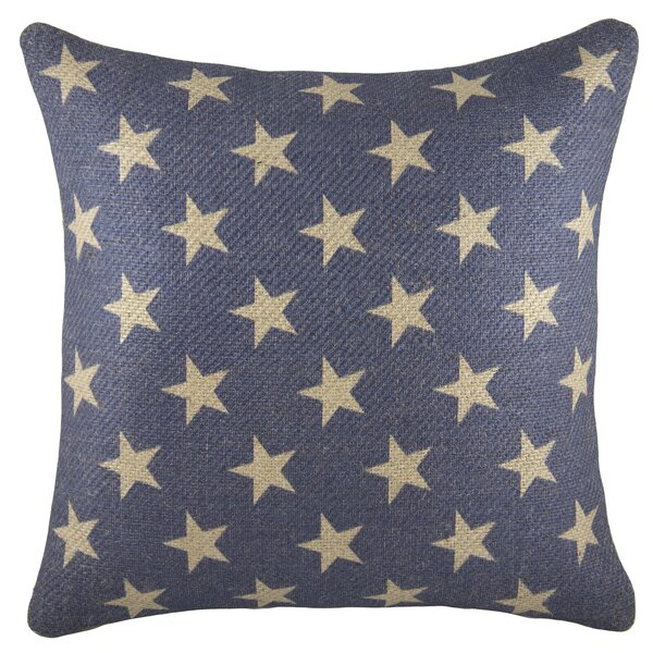 Patriotic Stars Burlap Throw Pillow by TheWatsonShop