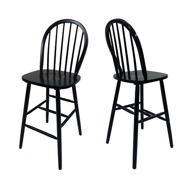 Abaokoro Traditional Rubberwood 29 Bar Stool (Set of 2) by Alcott Hill