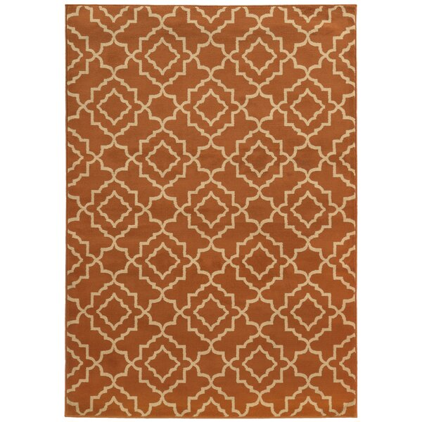 Delshire Orange/Beige Area Rug by Charlton Home