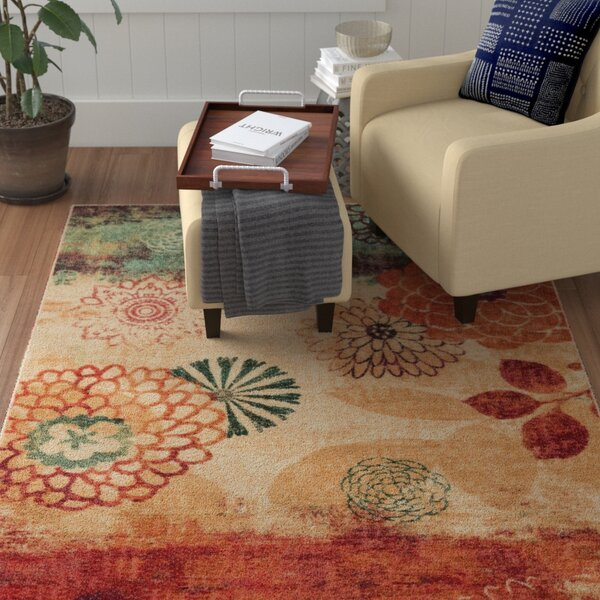 Arend Beige/Green Area Rug by Red Barrel Studio
