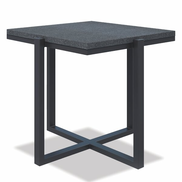 Square End Table With Honed Granite Slate by Sunset West