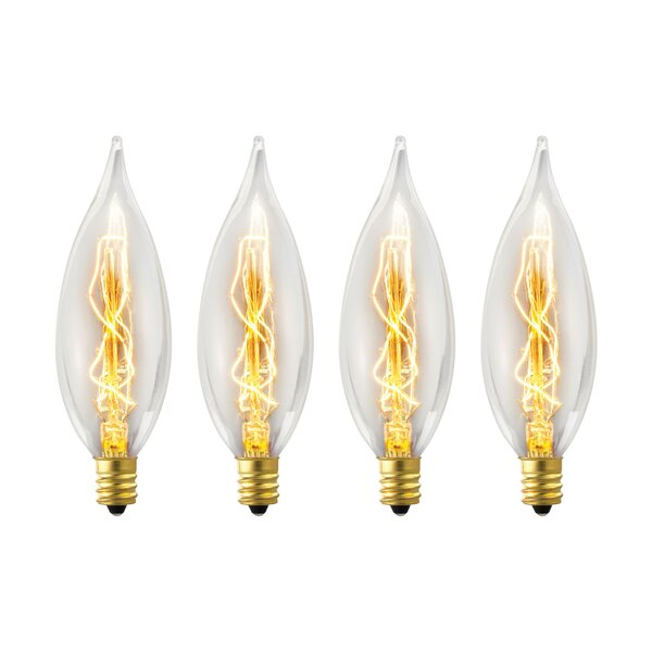 Vintage Edison 25 Watt (2700K) B10 Flame Tip Incandescent Filament Light Bulb (Pack of 4) (Set of 4) by Globe Electric Company