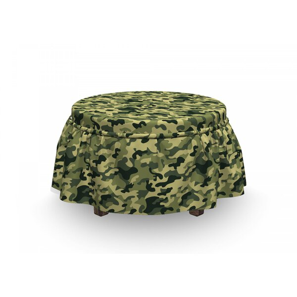 Camouflage Pale Clothing Motif 2 Piece Box Cushion Ottoman Slipcover Set By East Urban Home