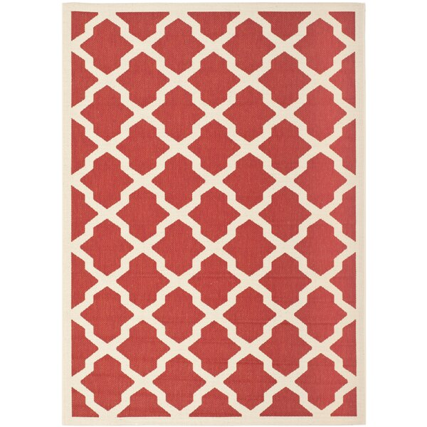 Short Red & Bone Indoor/Outdoor Area Rug by Winston Porter