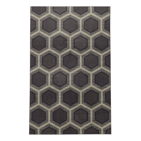 Pauling Honeycomb Geometric Black/Gray Area Rug by Brayden Studio