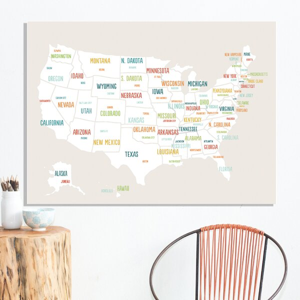 Reyansh USA Map Paper Print by Harriet Bee