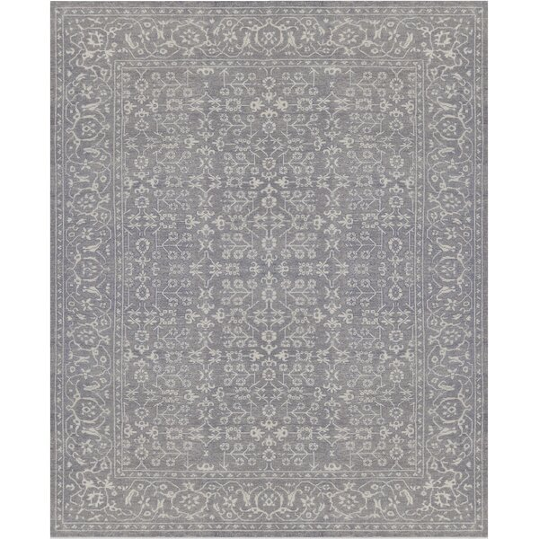 Khotan Exquisite Hand-Knotted Wool Gray Indoor Area Rug by Mansour