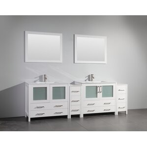 "96"" Double Bathroom Vanity Set with Mirror"