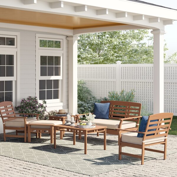 Calila 6 Piece Teak Sofa Seating Group with Cushions by Birch Lane™ Heritage