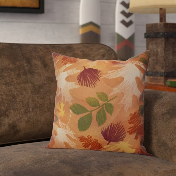 Brookfield Watercolor Leaves Floral Outdoor Throw Pillow by Loon Peak