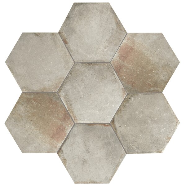 Relic Hex 11 x 12.63 Porcelain Field Tile in Grigio by EliteTile