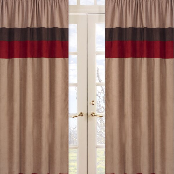 All Star Sports Striped Semi-Sheer Rod Pocket Curtain Panels (Set of 2) by Sweet Jojo Designs