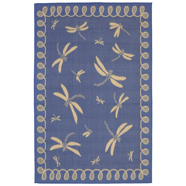 Clatterbuck Blue Dragonfly Indoor/Outdoor Area Rug by Highland Dunes