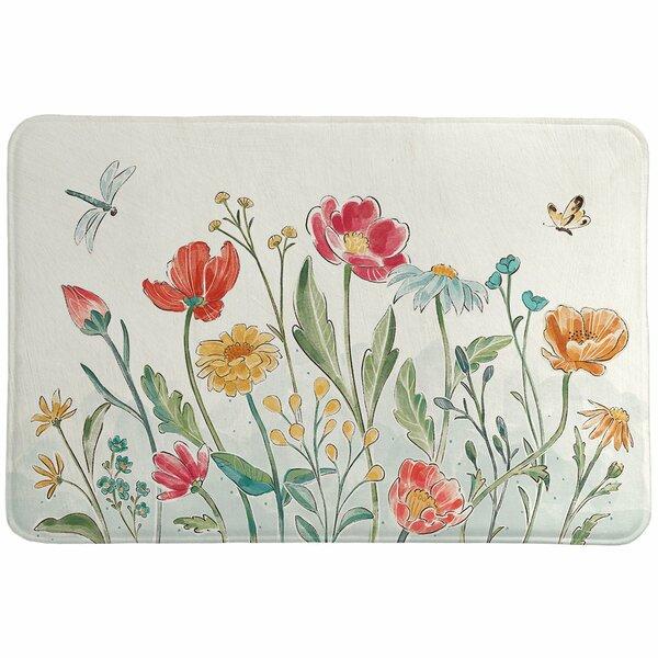 Menifee Field Rectangle Non-Slip Floral Bath Rug