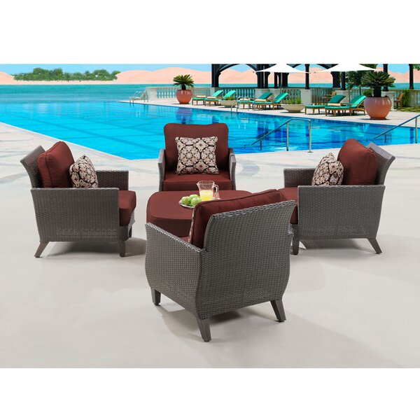 Cowger 5 Piece Conversation Set with Cushions by Rosecliff Heights