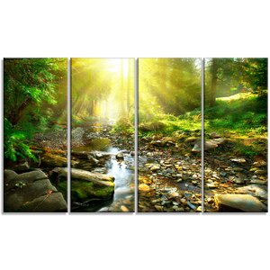'Mountain Stream in Forest' 4 Piece Photographic Print on Wrapped Canvas Set by Design Art