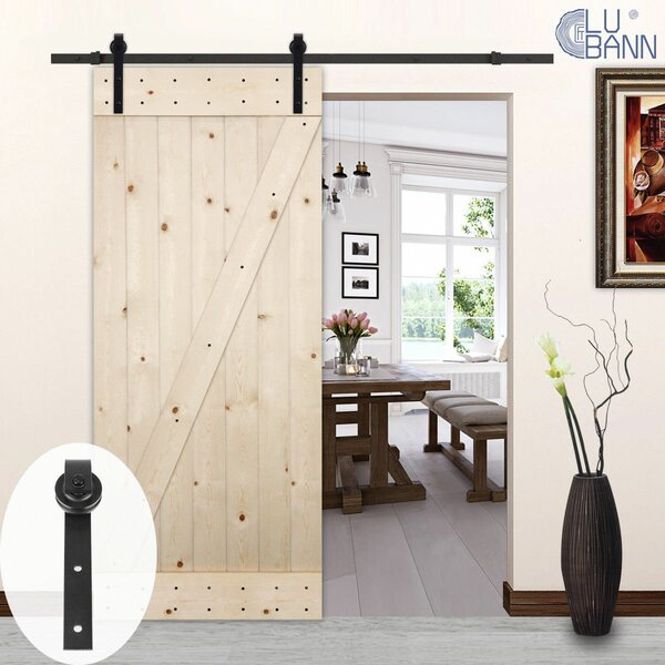 Classic J-Style Sliding Wood Track Kit Barn Door Hardware by Lubann