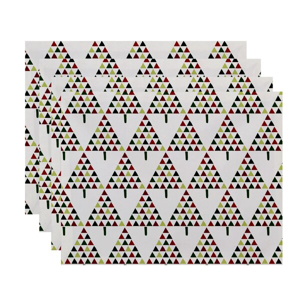Christmass Triangle Trees 2 Geometric Print Placemat (Set of 4) by The Holiday Aisle