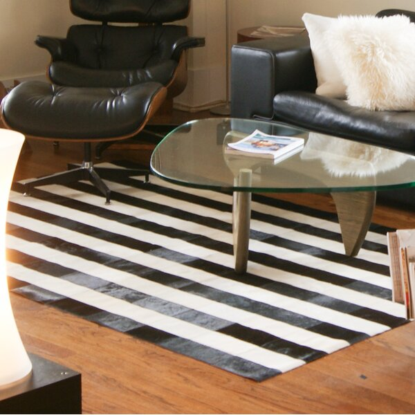Darshan Stitch Striped Hand-Woven Cowhide Black/White Area Rug by 17 Stories