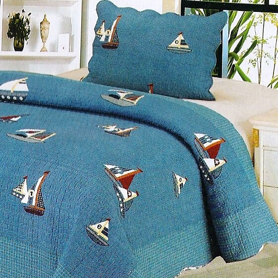 Denim Boat 2 Piece Twin Quilt Set by Home Sensation