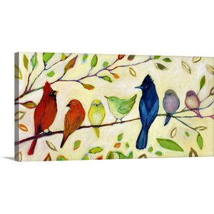 'A Flock of Many Colors' by Jennifer Lommers Painting Print on Canvas by Great Big Canvas