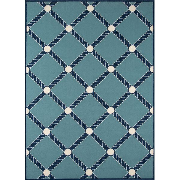 Halliday Blue/White Indoor/Outdoor Area Rug by Beachcrest Home