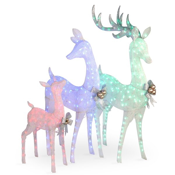 3 Piece Glittered Deer-Family Lighted Display by The Holiday Aisle
