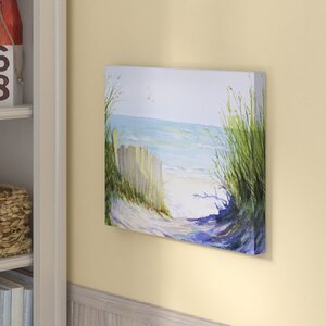 'Beach Path' Watercolor Painting Print on Wrapped Canvas by Beachcrest Home