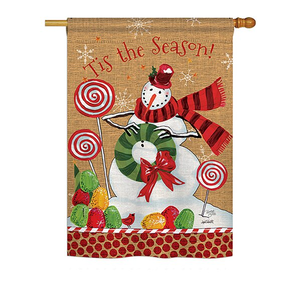 Sweet Celebrate Fun Winter Vertical American 2-Sided Polyester 3.3 x 2.3 ft. House Flag (Set of 2) by Breeze Decor