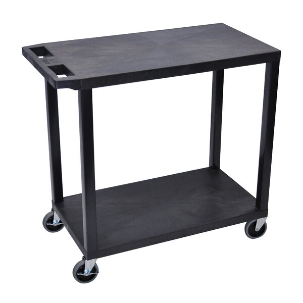 E Series Utility Cart with 2 Flat Shelves by Luxor