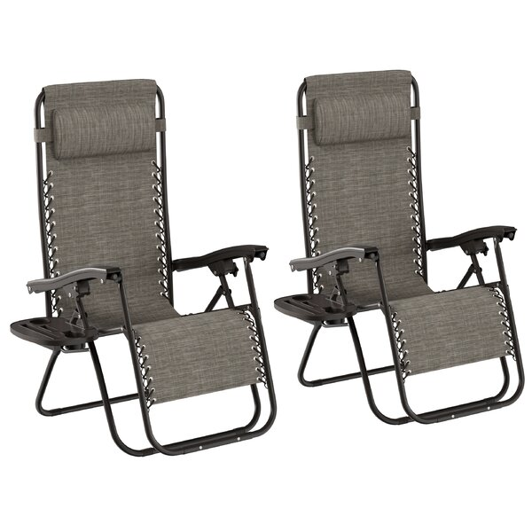 Chitwood Reclining Zero Gravity Chair with Cushion (Set of 2) by Freeport Park Freeport Park