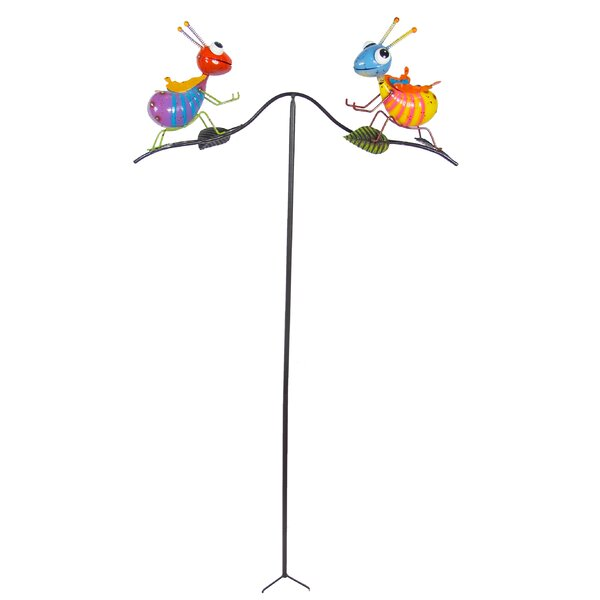 Painted And Enameled Metal Balancer Ants Garden Stake by Continental Art Center