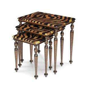 Discoveries Zebra 3 Piece Nesting Tables by Michael Amini (AICO)