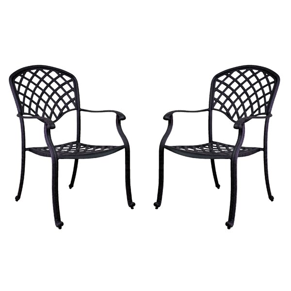 Idalou Stacking Patio Dining Chair (Set of 2) by Fleur De Lis Living