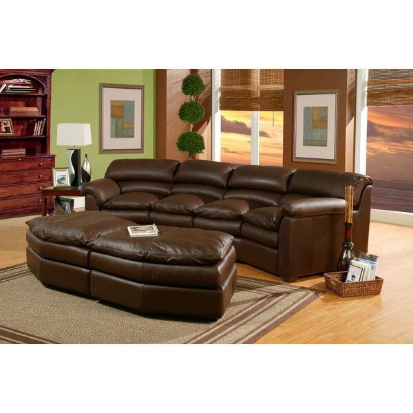 Canyon Leather Conversation Sofa with Ottoman by Omnia Leather