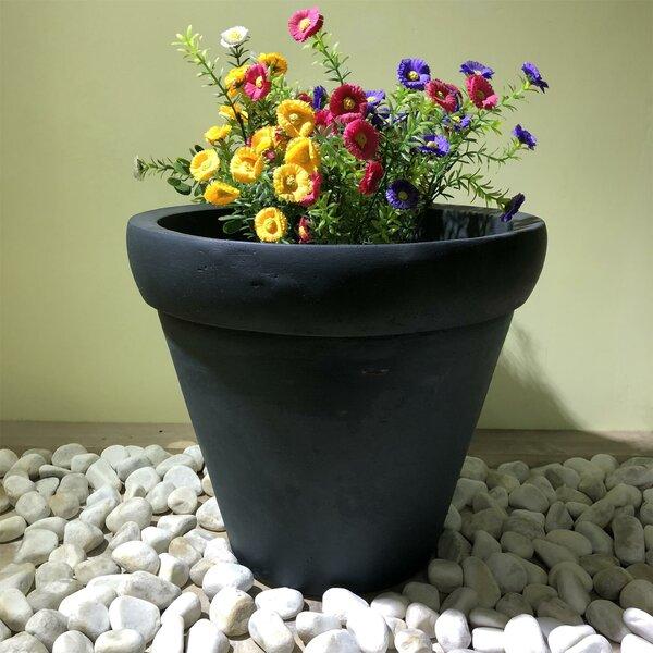 Keven Round Rim Wash Concrete Pot Planter by Charlton Home