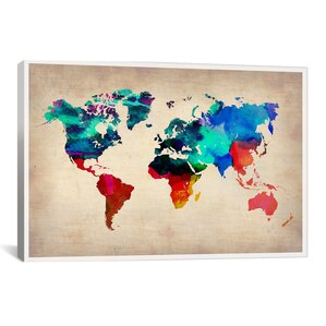 World of color wayfair naxart world watercolor map i graphic art sciox Images