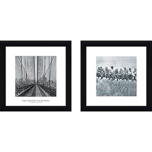 Lunch Atop Skyscraper' 2 Piece Framed Photographic Print Set Under Glass by Williston Forge