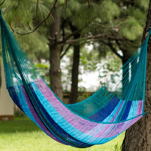 Summer Day Skies Double Tree Camping Hammock by Novica