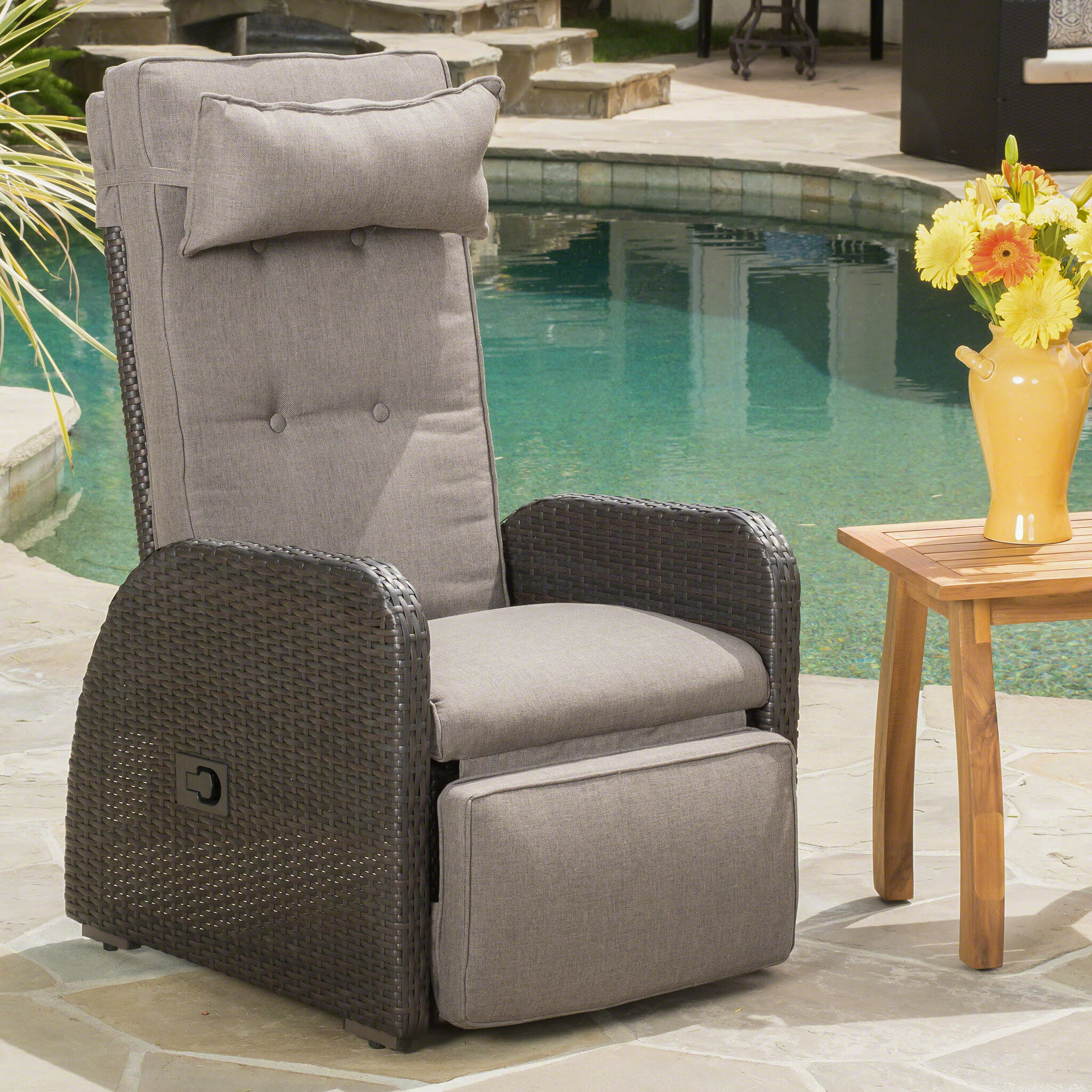 Cool Darby Home Co Keenes Recliner Patio Chair With Cushion Pabps2019 Chair Design Images Pabps2019Com
