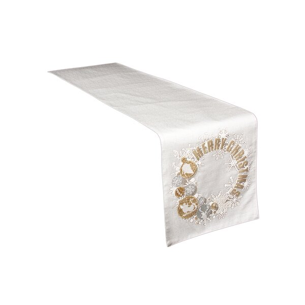 Felicity Ornament Wreath Christmas Table Runner by House of Hampton