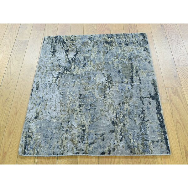 One-of-a-Kind Brigitte Abstract Design Handwoven Wool/Silk Area Rug by Isabelline