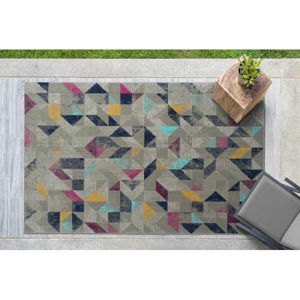 Hartung Gray/Navy/Pink Indoor/Outdoor Area Rug