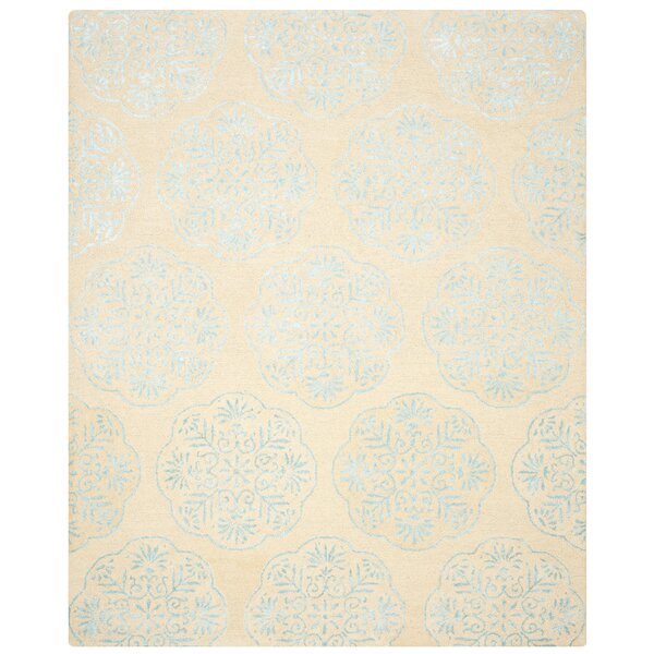 Rudra Beige/Turquoise Area Rug by Bungalow Rose