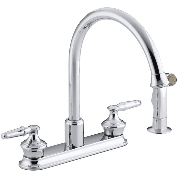 Coralais Three-Hole Kitchen Sink Faucet with 9 Gooseneck Spout and Matching Finish Sidespray, Requires Handles by Kohler