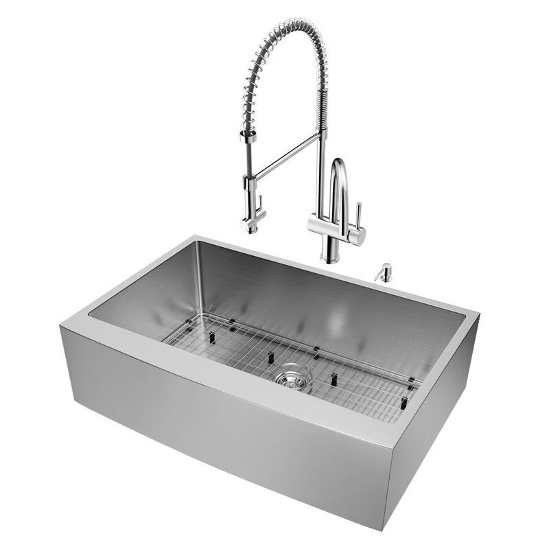 33 inch kitchen sink farmhouse kitchen 33 inch farmhouse apron single bowl 16 gauge stainless steel kitchen sink with dresden chrome faucet vigo