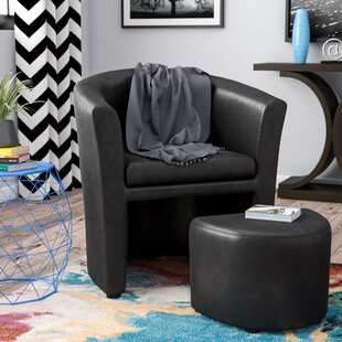 Cordie Barrel Chair and Ottoman & Faux Leather Accent Chairs Youu0027ll Love | Wayfair